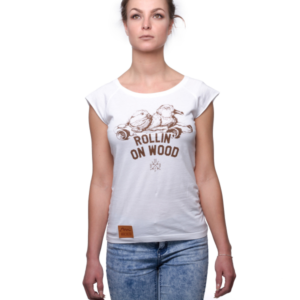 Rollin' On Wood T-Shirt, Girls - White